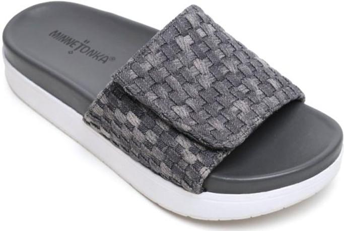 Minnetonka Women's Brett 76802-GRY Grey Denim Weave