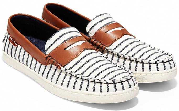 Cole Haan Men's Pinch Weekender C27306 Ivory-Navy Stripe-British Tan Leather