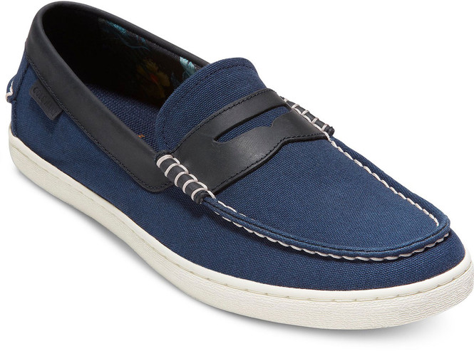 Cole Haan Men's Pinch Weekender C30498 Navy Canvas-Floral Lining - Main Image