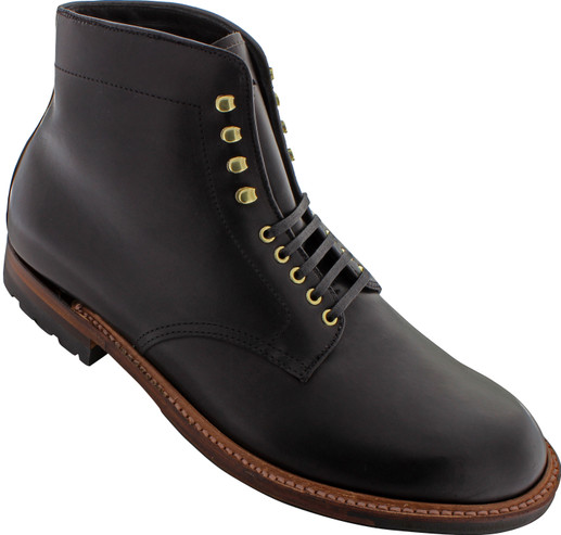 Alden Men's D4820HC - Plain Toe Commando Sole Boot - Black Trapper Calfskin