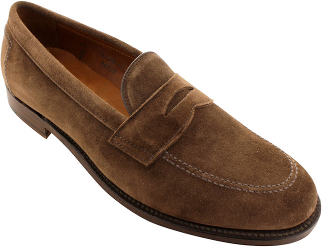 Alden Men's 9697F - Penny Loafer Flex Welt - Dark Brown Suede - Main Image