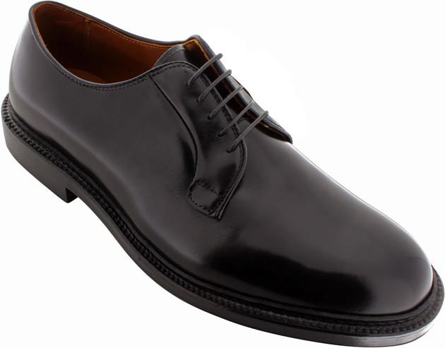 Alden Men's 9909 - Plain Toe Blucher - Black Calfskin