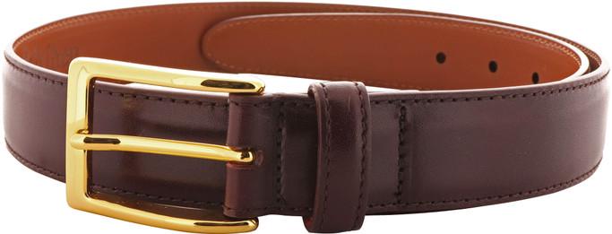 Alden Men's 30mm Calfskin Dress Belt - Burgundy with Gold Buckle - Main Image
