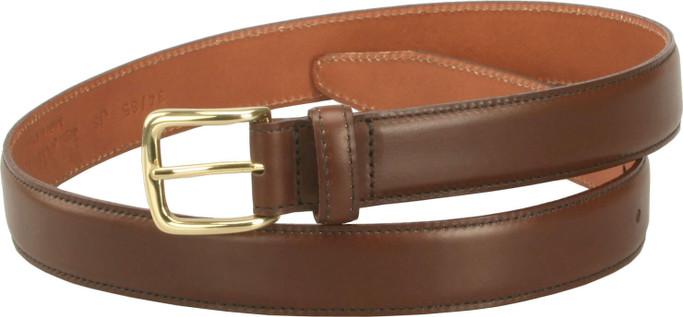 Alden Men's 30mm Calfskin Dress Belt - Dark Brown with Gold Buckle - Main Image