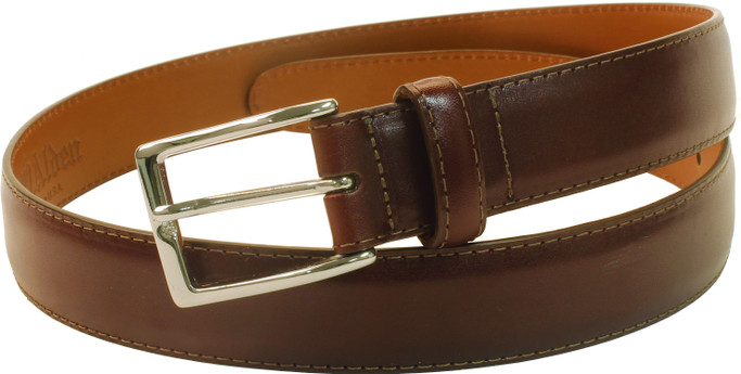 Alden Shoes Men's 30mm Calfskin Dress Belt MB0112 Burgundy with Nickel Buckle - Main Image