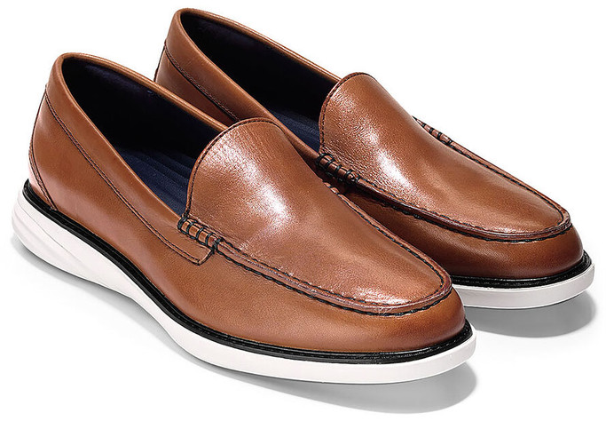 Cole Haan Men's Grand Evolution Venetian Loafer C27884 British Tan Leather-Ivory