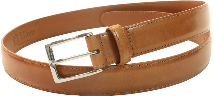 Alden Men's 30mm Calfskin Dress Belt - Tan with Nickel Buckle - Main Image