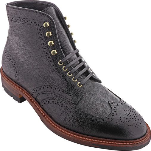 Alden Shoes Men's Wing Tip Boot D9839HC Black Scotch Grain - Main Image