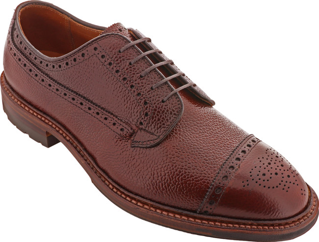 Alden Shoes Men's Medallion Cap Toe Atom Blucher D9522C Brown Scotch Grain - Main Image