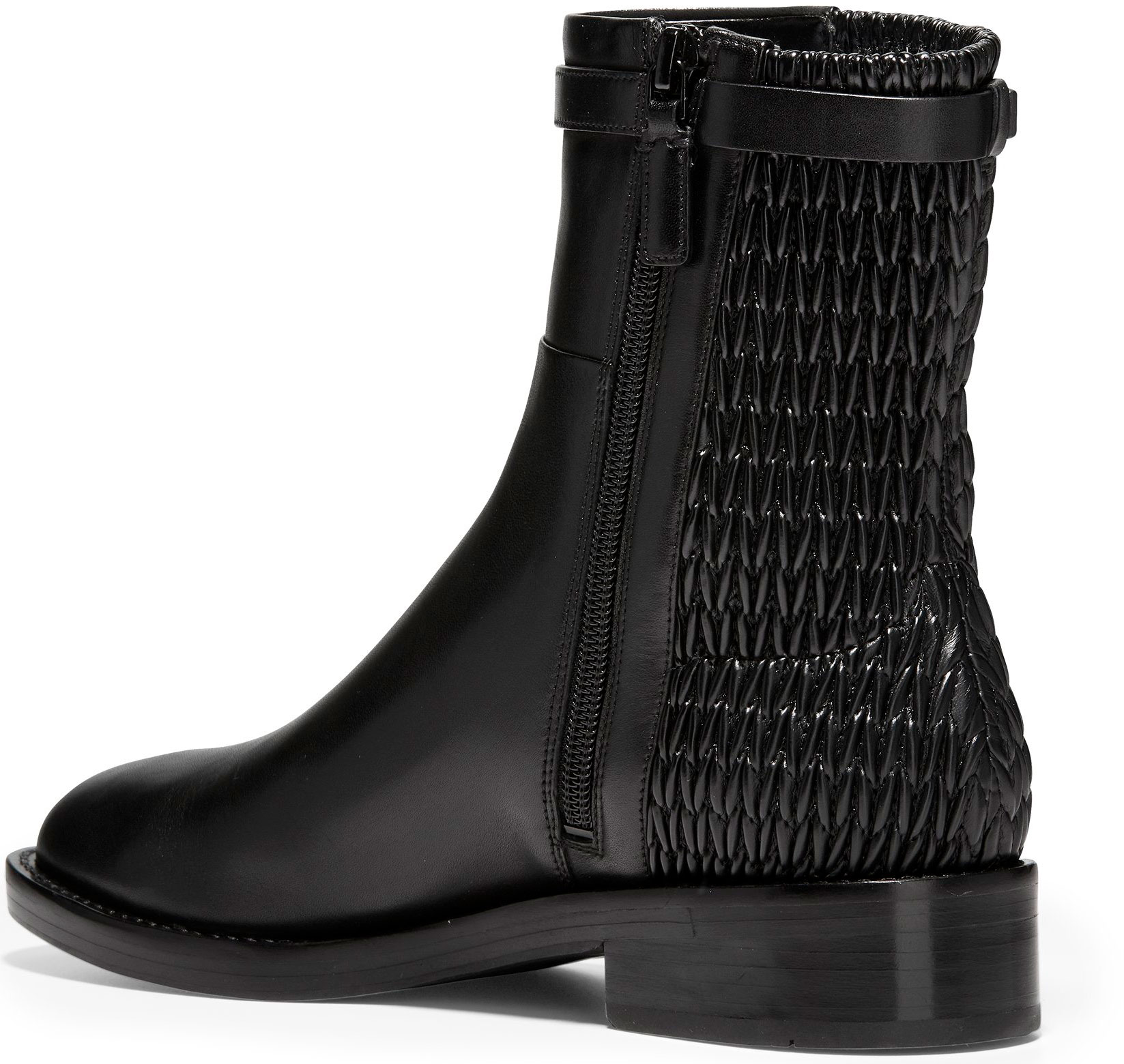 311c8b9971e Tap to expand · Cole Haan Women s Lexi Grand Stretch Strap Bootie W12055  Black Leather-Weave Stretch ...