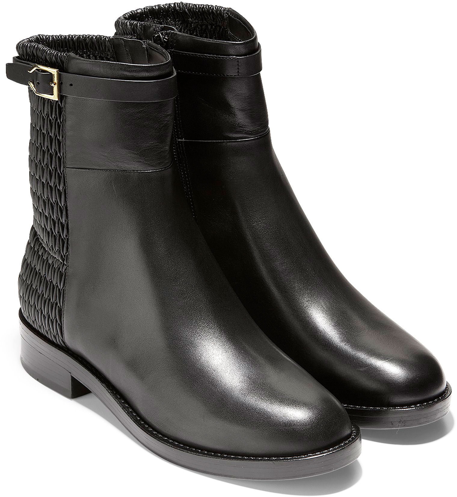 9c0b18b298d Cole Haan Women s Lexi Grand Stretch Strap Bootie W12055 Black  Leather-Weave Stretch ...