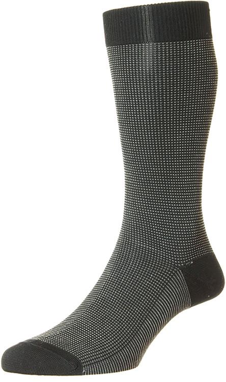 Pantherella Tewkesbury Three Colour Birdeye Cotton Lisle Socks Black
