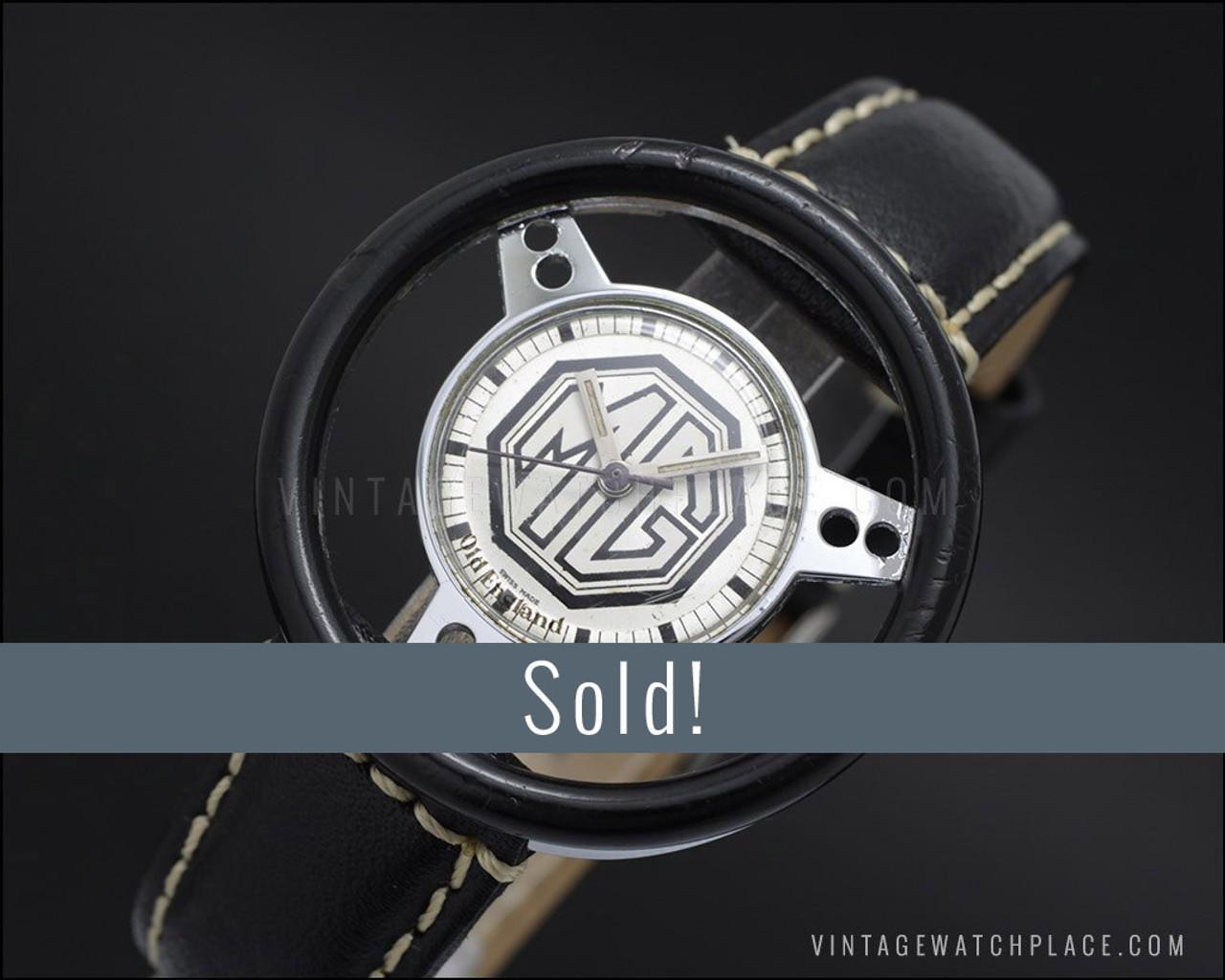 MG cars Old England Steering wheel Swiss made mechanical vintage watch