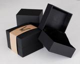 Watch box, black leatherette, stylish, vintage watch place, black velour pillow.