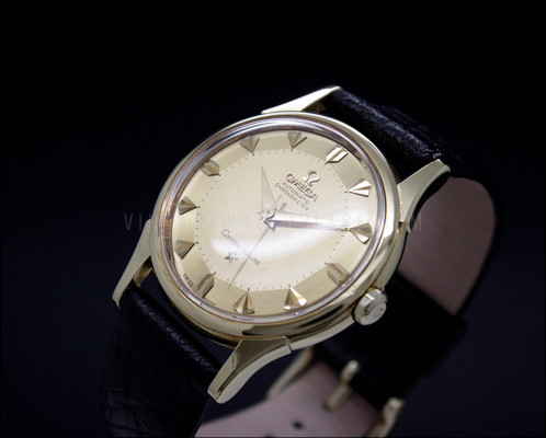 Omega constellation pie pan deluxe vintage automatic watch, all 18K gold , 14381/2 SC 6 , 18K gold dial , 18K gold hands , 18K gold indexes