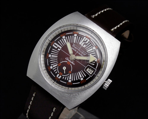 Thermidor Diver Style burgundy dial NOS Mechanical Vintage New Old Stock watch Cupillard 233-66 French movement
