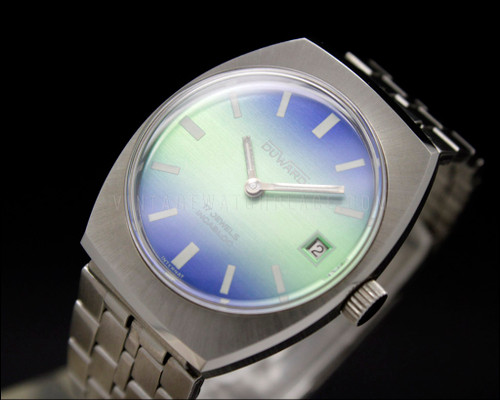 Vintage new old stock, mechanical Duward watch, FE 233-72 E21, colorful dial