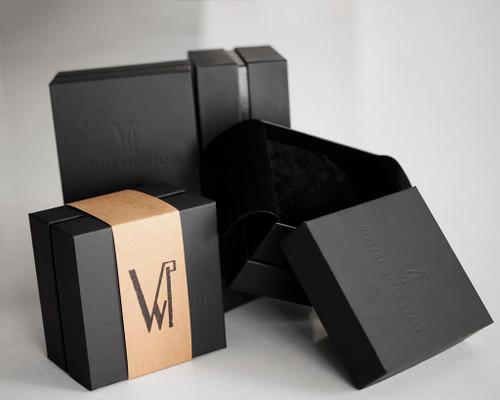 Watch cardboard black box, vintage watch place compact watch box