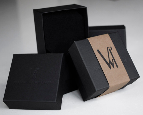 Vintage black cardboard watch box