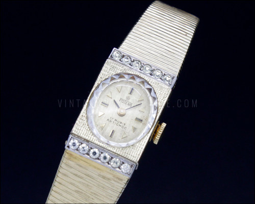 Vintage antique bracelet watch with stones, Potens, Swiss made mechanical watch, NOS, new old stock, 20 microns gold plated