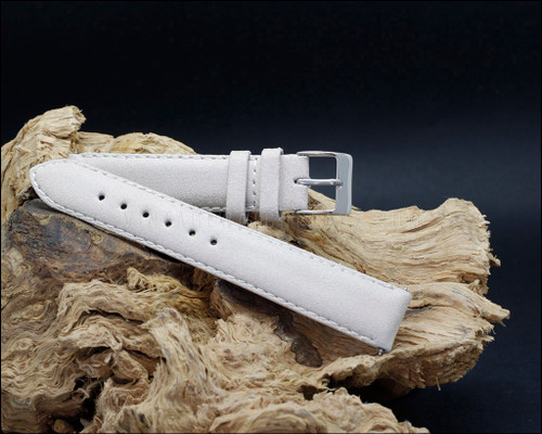 Vintage style leather strap, Ivory,  18-20 mm.