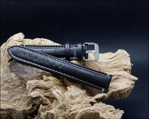 Sport alligator grain leather strap, matt black, white stitching, 18-20-22 mm.