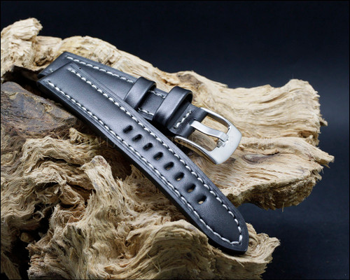 Sport & Strong smooth grain leather strap, semi shine black, 18-20-22 mm.