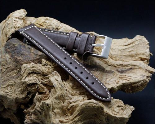 Casual & elegant smooth grain leather strap, aged stitching, matt dark brown, 18-20-22-24 mm.