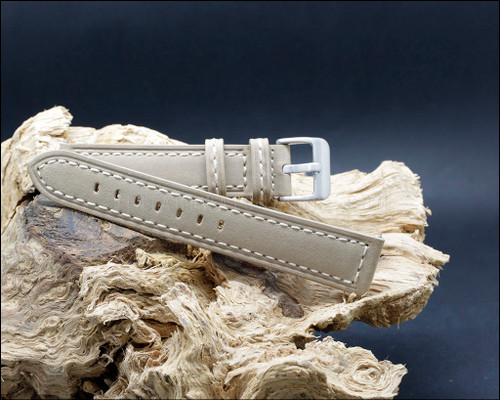 Suede grain, smooth, vintage style, strong Beige watch strap, 20-22-24 mm.