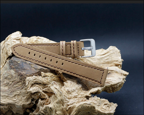 Suede grain, smooth, vintage style, strong Brown watch strap, 20-22-24 mm.