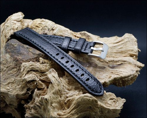 Classic, strong, Black calf leather, buffalo grain watch strap, 18-20-22 mm.