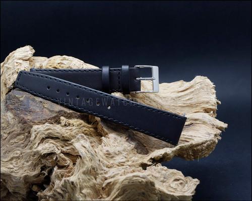 Odd sizes classic, smooth grain, Black watch strap, 17-19 mm.