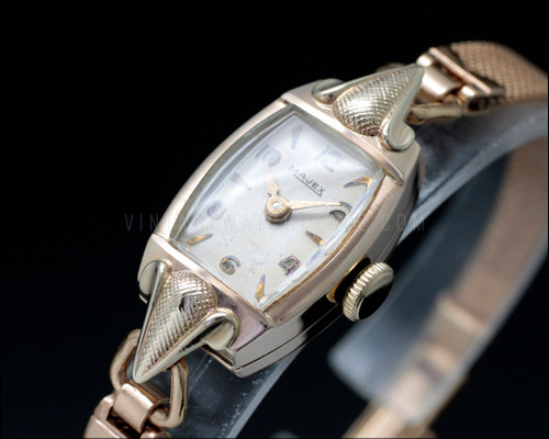 Art nouveau / art deco swiss made Majex, BWC London made case, antique mechanical bracelet cocktail watch, 9k solid gold, textured