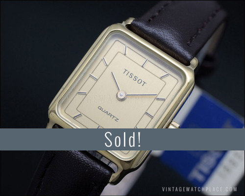 Ladies' Tissot vintage quartz watch, small, very dainty, gold plated