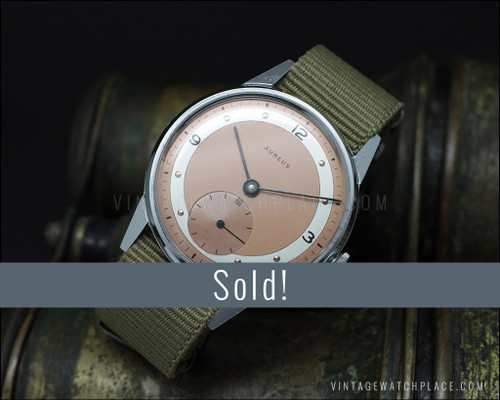 NOS 1940's Aureus Rare military vintage mechanical watch