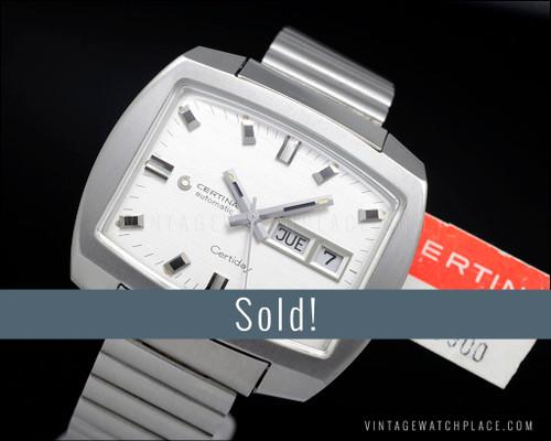 Big Certina Certiday Automatic vintage watch, original bracelet & hang tag!