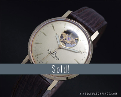 Jacques Lemans marriage automatic vintage watch, see through, Hi beat
