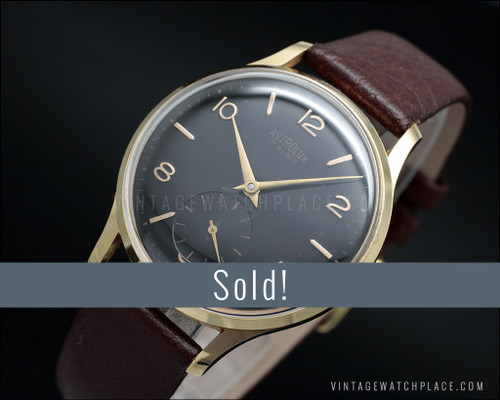 Astrolux Classic mechanical vintage watch, Rose gold plated, black dial!