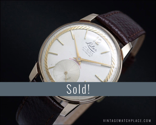 Swiss made Rare Luber automatic vintage watch, Rose gold plated, rare dial!
