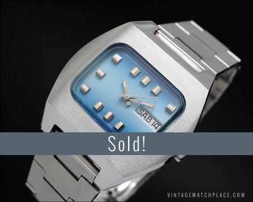 Thermidor De Luxe automatic vintage watch, rare shape, blue dial