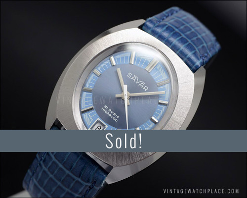 N.O.S. Savar Galician mechanical vintage watch, 21 jewels
