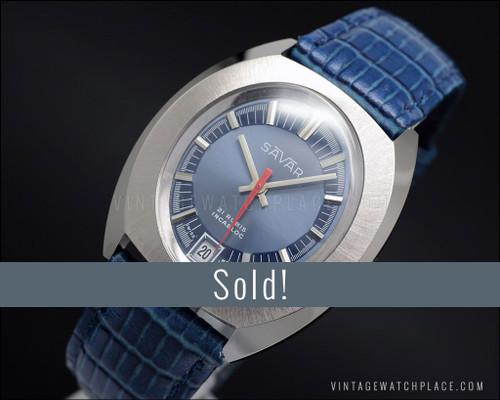 NOS Savar Galician mechanical vintage watch, 21 jewels, blue