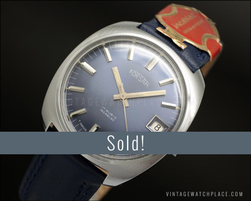 New Old Stock Forsam mechanical vintage watch, blue dial