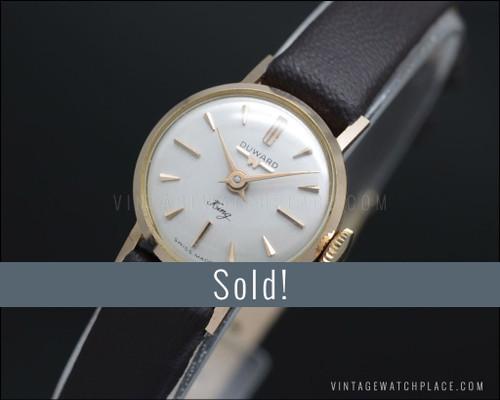 Duward King 50's Cocktail mechanical vintage watch 18K solid pink gold