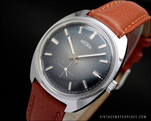 New Old Stock Radar antique manual winding vintage watch, blue / gray dial new old stock