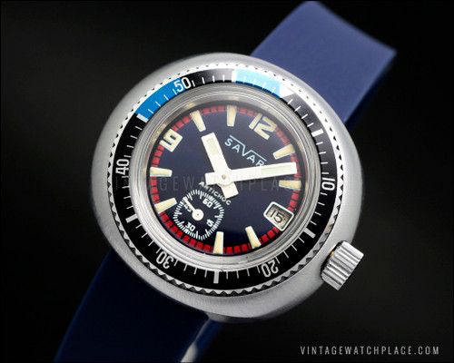 Savar Diver's mechanical, NOT waterproof tested Blu&W