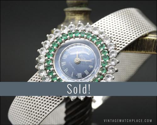 NOS Savar mechanical Cocktail jewelry watch, 925 Silver Art Decó Design