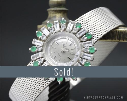 NOS Savar mechanical Cocktail jewelry watch 925 Silver Art Decó Design