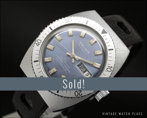 New Old Stock Helsa Diver mechanical vintage, blue dial