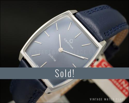 New Old Stock Certina Jubilé mechanical vintage watch, blue dial